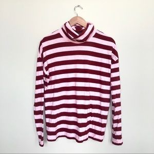 J. Crew Tops - J crew pink/ burgundy classic striped turtleneck